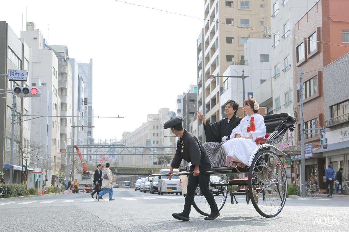 和装人力車ロケーション ロケーションプラン 東京(浅草)結婚写真・フォトウエディング専門スタジオアクア浅草