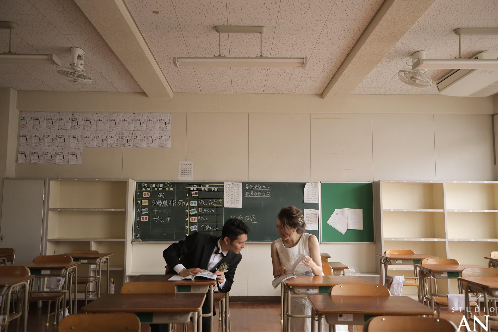 思い出の学校で撮影